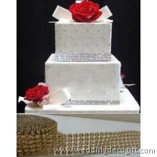 5 row Gold Diamond Mesh Ribbon, Crystal Ribbon – RRG502