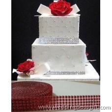 5 row Red Diamond Mesh Ribbon, Crystal Ribbon – RRR502
