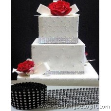 7 row Black with Silver Diamond Mesh Ribbon, Crystal Ribbon – RRB702