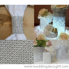5 row Silver Diamond Mesh Ribbon, Crystal Ribbon – RRS502