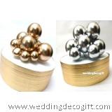 Silver , Gold Ball Cake Topper Decoration – 5pcs