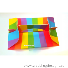 Rainbow Color Paper Box , Stripe Paper Party Bag , Color Gift Box, Food  Packaging Box