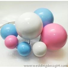 Blue, Pink, White, Black Ball Cake Topper Decoration