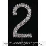 "Rhinestone Diamante Cake Topper Number / Number ""2"" Cake Topper"