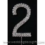 "Rhinestone Diamante Cake Topper Number / Number ""2"" Cake Topper"