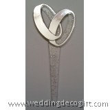 Double Silver Ring Glitter Cupcake Pick Topper