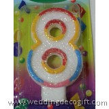 Number 8 Candle Multicolor
