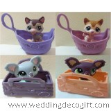 Littlest Pet Shop Toy Figurine in a Basket, Littlest Pet Shop Cake Topper