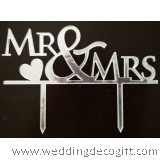 Mr & Mrs Silver Cake Topper - WCTP02B