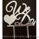 We Do Silver Wedding Cake Topper - WCTP05B