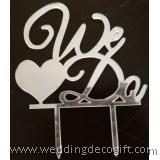 We Do Silver Wedding Cake Topper - WCTP05B