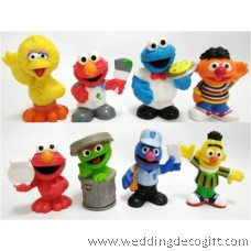Sesame Street Elmo, Cookie Monster, Oscar, Big Bird Toy Figures Cake Topper- SSSCT01B (8pcs)