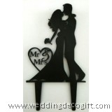 Bride and Groom with Mr & Mrs Wedding Cake Topper - WCTP07