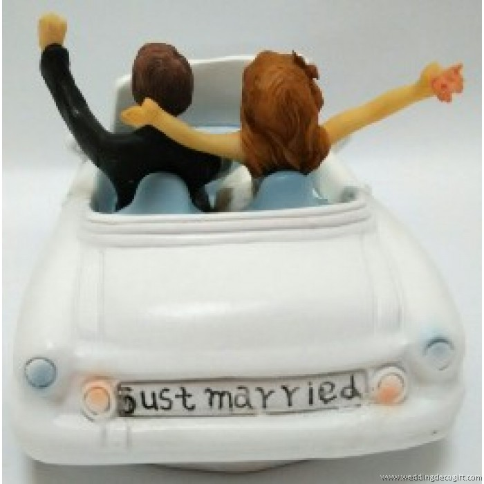 Bride and Groom in a Car Wedding Cake Topper