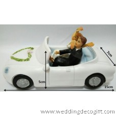 Bride and Groom in a Car Wedding Cake Topper - WCTF06